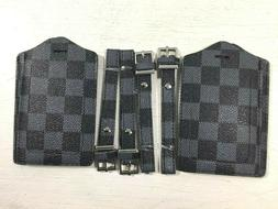 luggage tag 4 pack gray checkerboard vegan