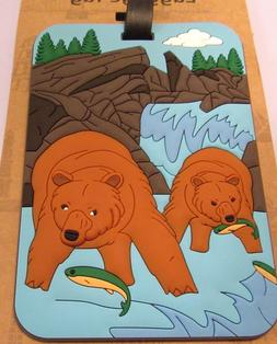 Luggage Tag BROWN BEARS  fish outdoors rectangular -use for