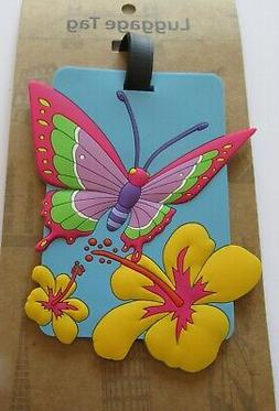 Luggage Tag- BUTTERFLY yellow blue -flowers rectangular  use