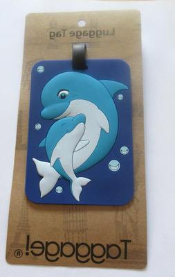 Luggage Tag- DOLPHIN WITH BABY -colorful- blues  use for kid