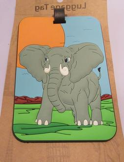 Luggage Tag- ELEPHANT -rectangular -gray blue green-- use fo