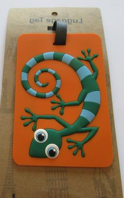 Luggage Tag-GECKO- green blue orange rectangular -use for ki