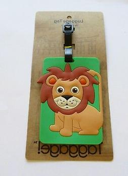 Luggage Tag- LION  brown  green rectangular  use for kids &