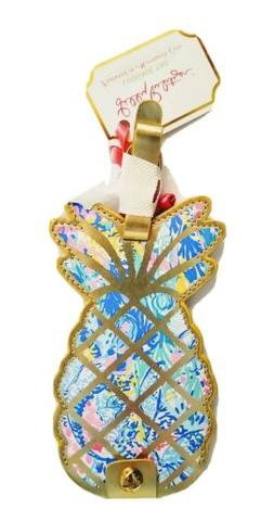 Lilly Pulitzer Luggage Tag Mermaids cove pineapple gold Past