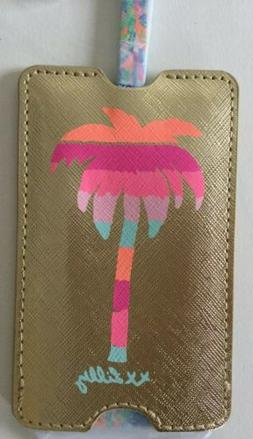 Lilly Pulitzer LUGGAGE TAG Multi Catch the Wave Gold Leather