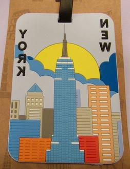Luggage Tag- New York City- skyline  colorful-rectangular us