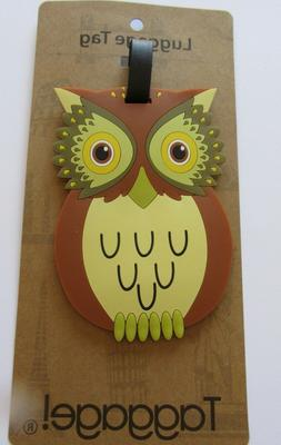 Luggage Tag - OWL -brown green yellow- owl shaped-use for ki