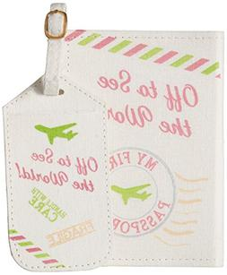 "Lillian Rose Luggage Tag and Passport, Pink/World, 6.75"" x 5"