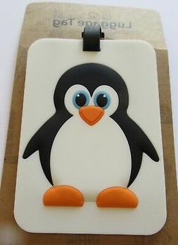 Luggage Tag-  PENGUIN - black white orange blue- for adults
