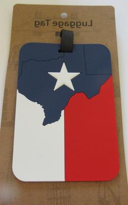 Luggage Tag -TEXAS FLAG -red white blue- star- map -use for