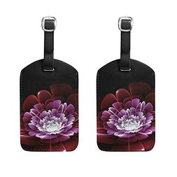 HangWang Set of 2 Luggage Tags Colorful Flower Suitcase Labe