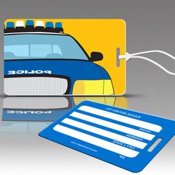 TagCrazy Luggage Tags For Kids,Police Cruiser Design,Durable