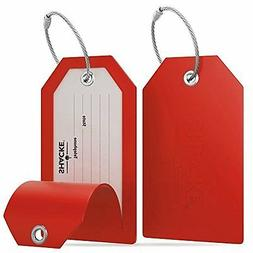 Shacke Luggage Tags with Full Back Privacy Cover w/ Steel Lo