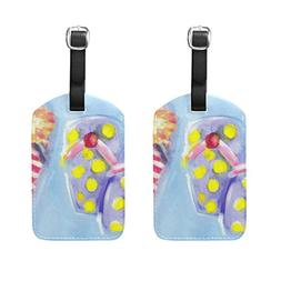 Set of 2 Luggage Tags Summer Slippers Oil Painting Suitcase