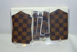 luggage tags victoria brown checkerboard pack of