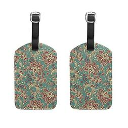 HangWang Set of 2 Luggage Tags Vintage Leaf Flower Suitcase