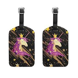 HangWang Set of 2 Luggage Tags Watercolor Unicorn Stars Suit