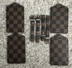 Luxury Luggage Tag 4 Pack Brown Checkered Vegan Leather Tags