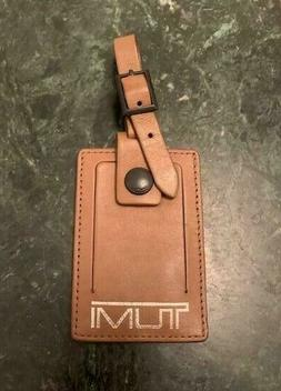 NEW TUMI Brown & Silver Leather Luggage Tag - Large