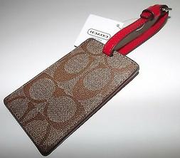 NEW COACH LEATHER LUGGAGE TAG WITH ID INFORMATION KHAKI/RED