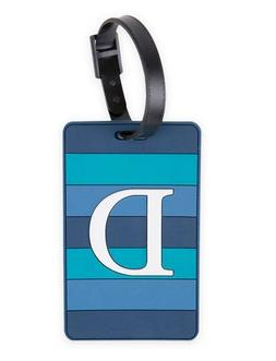 "NEW Travel-On Monogrammed Letter ""D"" Blue PVC Luggage Tag"