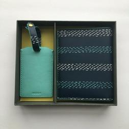 NWOT Fossil Keely Passport Cover and Luggage Tag, Blue Strip