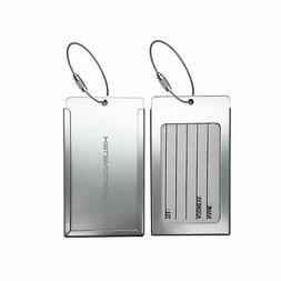 Pack of 2 Luggage Tags, Aluminum Metal Travel ID Identifier