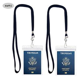 Passport Badge Holders with Extra PVC ID Card Holder and Wov