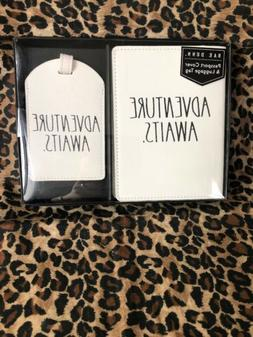 RAE DUNN Passport Cover & Luggage Tag ADVENTURE WAITS NEW In