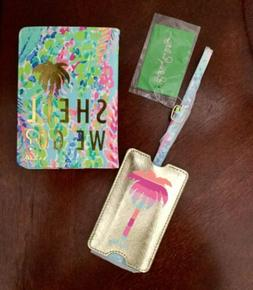 "LILLY PULITZER PASSPORT COVER AND LUGGAGE TAG SET ""Shell W"