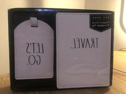 "Rae Dunn Passport Cover & Luggage Tag Set ""TRAVEL"" and ""LET'"