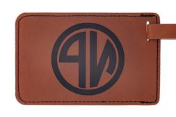 Personalized Leather Luggage Tag, Laser Engraved Monogram, T