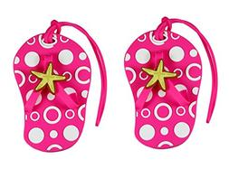 Pink Beach Themed Flip Flop Luggage Tags