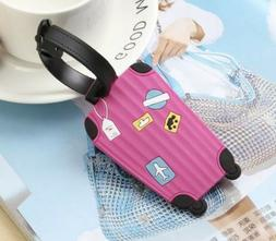 """Pink Suitcase Luggage Tag 3"""" Rubber Suitcase Tag Travel US"""