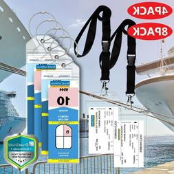 Premium Cruise Luggage Tag Lanyard ID Holder Zip Seal Steel