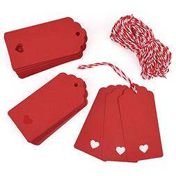 Zealor 100 Pieces Red Kraft Paper Gift Tags with String for