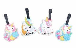 Finex Set of 4 Unicorns Travel Luggage ID Tag for Suitcase w