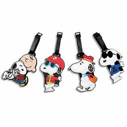 Finex Set of 4 White Snoopy Charlie Brown Travel Luggage Tag