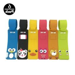 Set of 6 Cute Animals Luggage Tags, Colorful Silicone Travel
