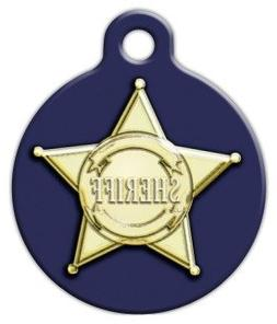Sheriff Badge Graphic - Custom Pet ID Tag for Dogs and Cats