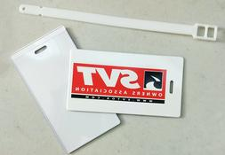 """SVTOA Luggage Tag - plastic with strap - 4.25 x 2.25"""""""
