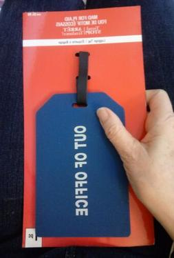 "VERY LARGE LUGGAGE ID TAG BLUE- ""OUT OF OFFICE"" IN White Let"