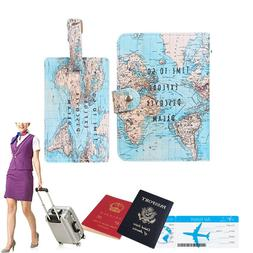 Word Map Travel Passport Holder Set: 1 x Passport Cover and