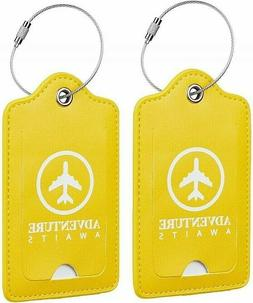 Yellow Leather Luggage Tags Holder Trip Travel Loops Tag Bag